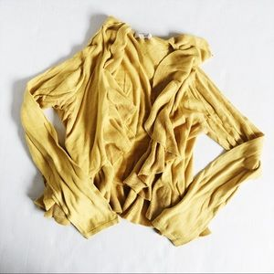 Mustard Yellow Fossil ruffle, open front cardigan
